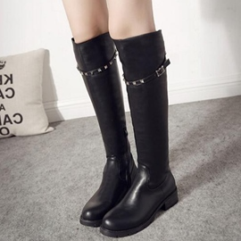 Ericdress Rivets&buckles Round Toe Knee High Boots