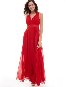 Eicdress A Line Chiffon Pleats Beaded Empire Long Evening Dress