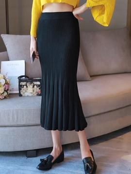 Ericdress Solid Color Pleated High-Waist Fishtail Skirt