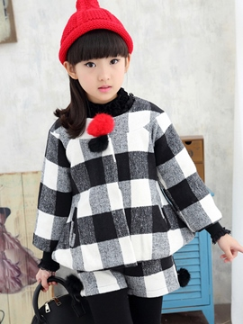 Ericdress Plaid Jacket Shorts 2-Pcs Girls Outfit
