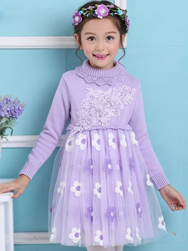 Ericdress Floral Embroidery Turtleneck Sweet Girls Dress