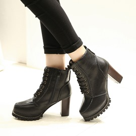 Ericdress Platform Lace up Chunky Heel Boots