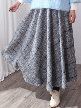Ericdress Plaid Pleated Expansion Maxi Skirt