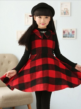 Ericdress Plaid Lapel Sleeveless Girls Dress