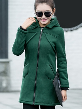 Ericdress Casual Straight Zipper Hoodie