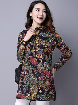 Ericdress Dizzy Print Single-Breasted Blouse