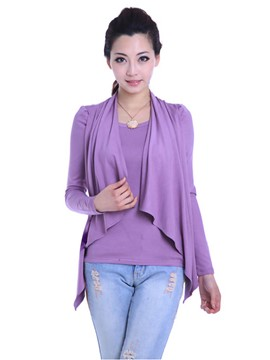 Ericdress Purple Falbala Trim Knitwear
