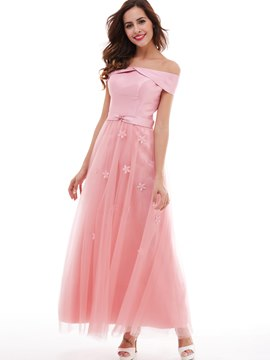 Ericdress A Line Off-The-Shoulder Flowers Long Prom Dress
