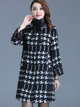 Ericdress Straight Houndstooth Stand Collar Coat