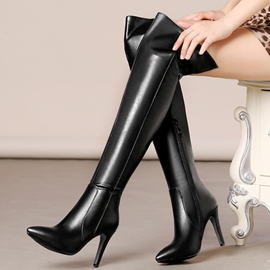 Ericdress PU Point Toe Thigh High Boots
