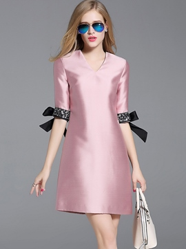 Ericdress Fashion Bowknot Patchwork V-Neck Casual Dress