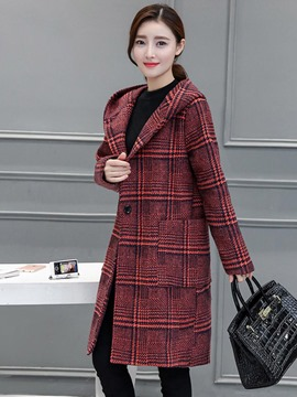 Ericdress Straight Plaid One-Button Hooded Coat