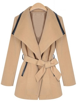 Ericdress Turn-Down Bowknot Lace-Up Coat