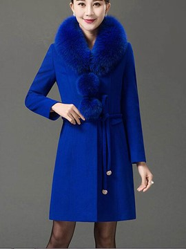 Ericdress Slim Faux Fur Collar Elegant Coat