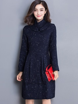 Ericdress Peter Pan Collar Patchwork Pleated Casual Dress