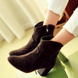 Ericdress Suede Side Zip Chunky Heel Ankle Boots