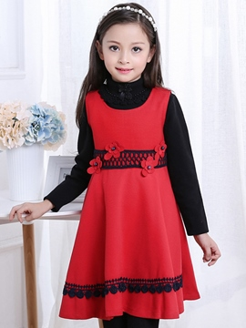 Ericdress Floral Embroidery Turtleneck Sleeveless Wool Girls Dress
