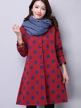 Ericdress Slim Single-Breasted Polka Dots Coat