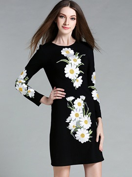 Ericdress Floral Embroidery Round Collar Bodycon Dress