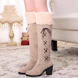 Ericdress Pretty Slip-On Lace-Up Block Heel Knee High Boots