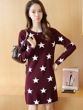 Ericdress Star Print Split Straight Casual Dress