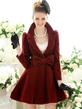 Ericdress Solid Color Slim Bowknot Wave Cut Coat