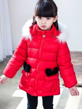 Ericdress Bow Hooded Pocket Girls Cotton-padded Coat