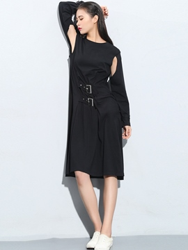 Ericdress Hollow Sleeve Double Belt Straight Casual Dress