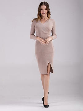Ericdress Cross V-Neck Patchwork Split Sweater Dress