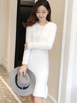 Ericdress Simple Round Collar Falbala Patchwork Sweater Dress