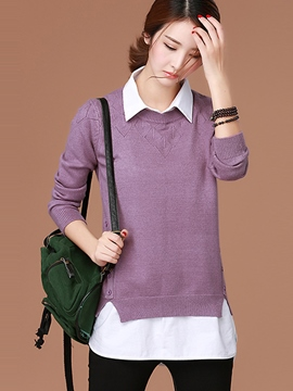 Ericdress Patchwork Lapel Pullover Knitwear