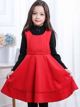 Ericdress Plain Bead Sleeveless Wool Girls Dress