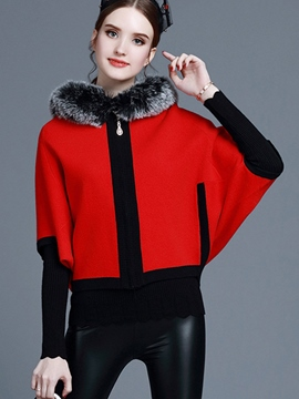 Ericdress Color Block Fuax Fue Collar Batwing Jacket