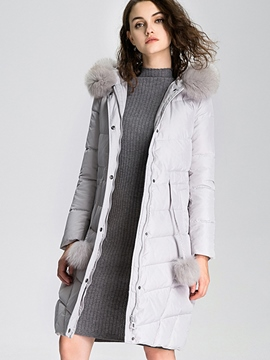 Ericdress Solid Color Faux Fur Patchwork Slim Coat