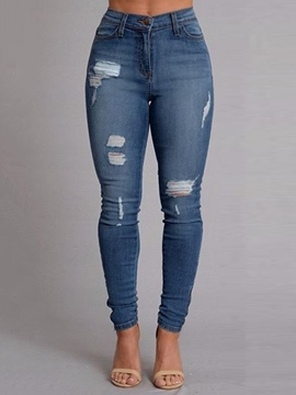 Ericdress Holes Pocket Skinny Full Length Jeans