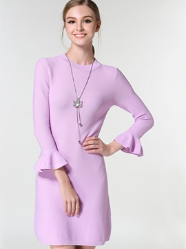 Ericdress Ruffle Sleeve Solid Color Knitting Sheath Dress