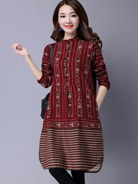Ericdress Pastoral Button Strip Casual Dress