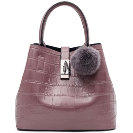 Ericdress Fuzzy Ball Croco-Embossed Handbag