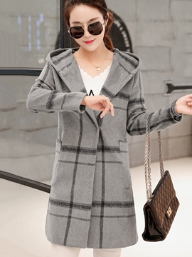 Ericdress Slim Plaid Hooded Coat