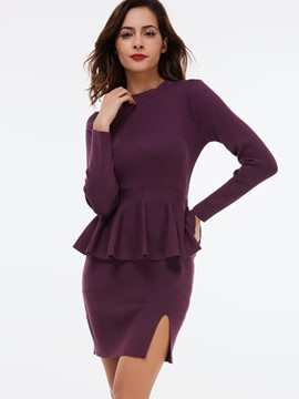 Ericdress Knitting Stand Collar Falbala Patchwork Bodycon Dress