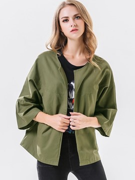 Ericdress Casual Loose Solid Color Jacket