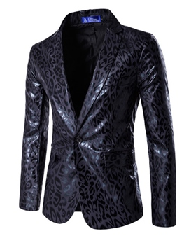 Ericdress Leopard PU Vogue One Button Slim Men's Blazer