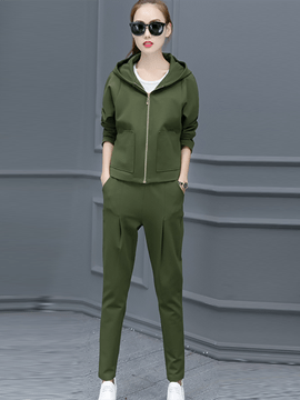 Ericdress Solid Color Hooded Zipper Pants Suit