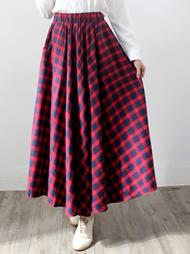 Ericdress Plaid Print Pleated High-Waist Maxi Skirt