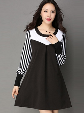 Ericdress Zebra-Stripe Patchwork Pleated Casual Dress