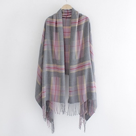 Ericdress Oversized Lattice Tassel Shawl Scarf