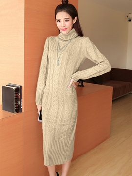 Ericdress Turtleneck Weave Slim Maxi Sweater Dress
