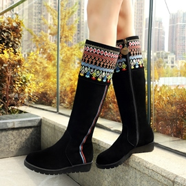 Ericdress Ethnic Pattern Knee High Boots