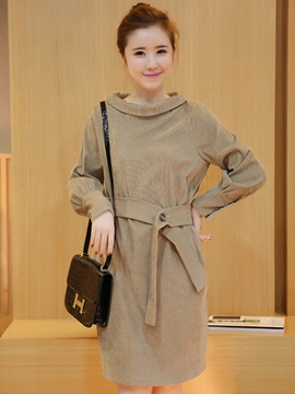 Ericdress Lapel Belt Lantern Sleeve Sheath Dress