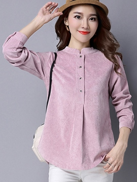 Ericdress Solid Color Pleated Button Blouse